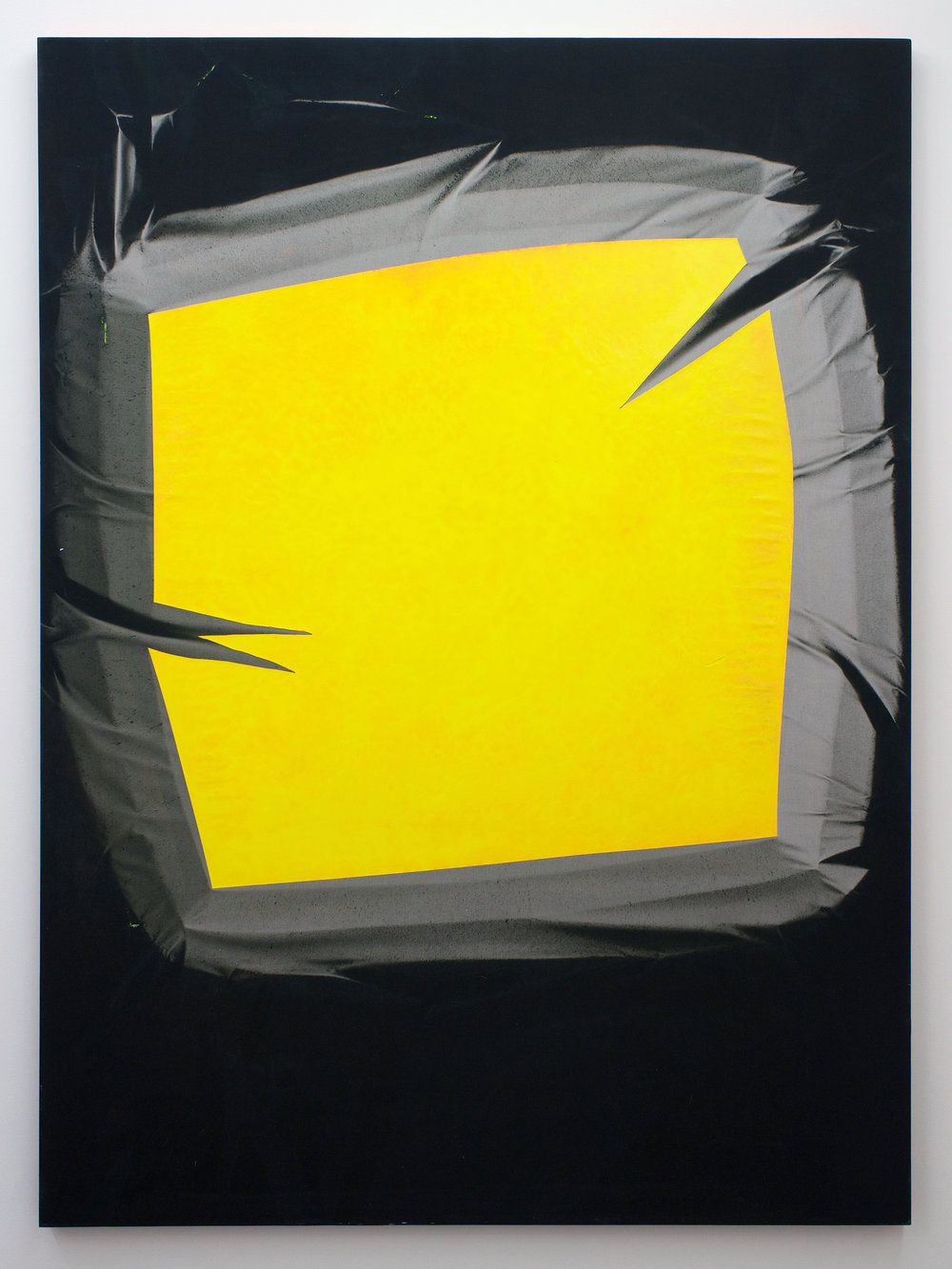 "CHRIS DUNCAN   Skylight – Yellow & Gray (Winter-Summer 2016) Six-Month Exposure/Oakland , 2016, sun, time and acrylic on fabric, 68"" x 50"""