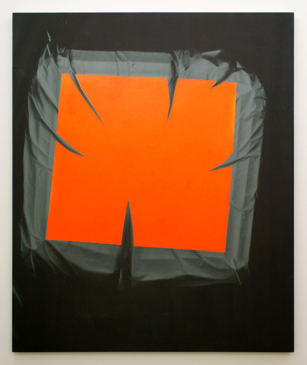 "CHRIS DUNCAN   Skylight – Orange & Gray (Fall-Spring 2016) Six-Month Exposure/Oakland , 2016, sun, time and acrylic on fabric, 68"" x 55 3/4"""