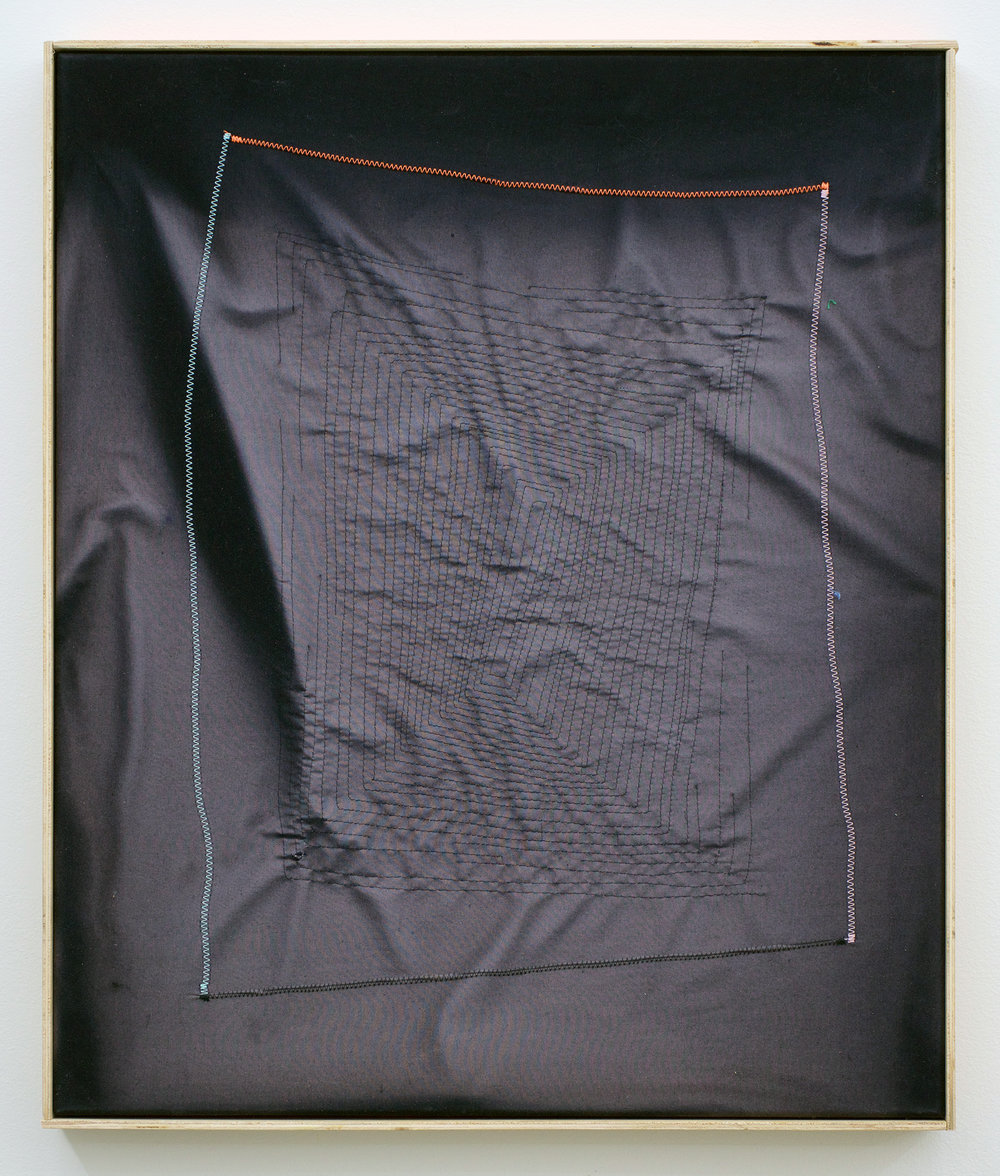 "CHRIS DUNCAN   Ghost Pattern #1 (Summer/Winter 2016) Six-Month Exposure/Oakland , 2017, sun, time and thread on fabric, 24 1/2"" x 20 1/2"""