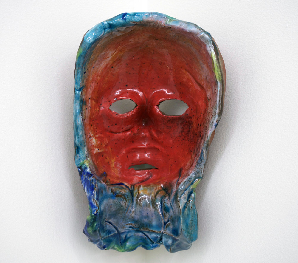 "CHRIS DUNCAN   Mask #1 , 2017, ceramic and glaze, 9 1/4"" x 6"" x 6"""