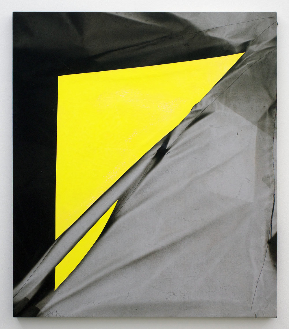 "CHRIS DUNCAN   Yellow (Winter to Summer, 2016) six-month exposure/Headlands , 2016, sun, time and acrylic on fabric, 28"" x 24"""