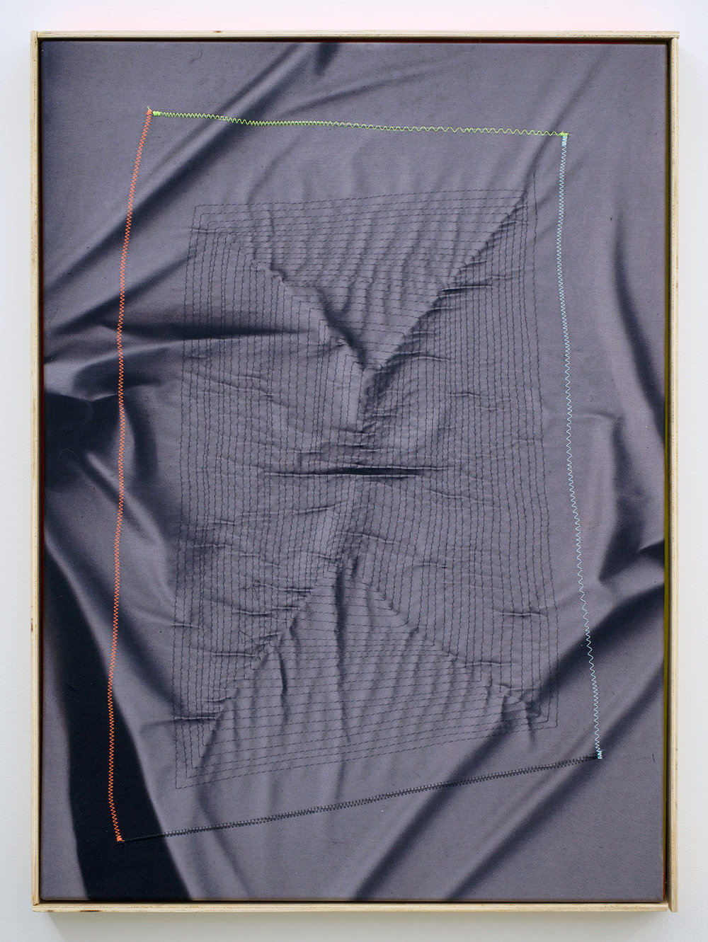 "CHRIS DUNCAN   Ghost Pattern #2 (Summer/Winter 2016) six-month exposure/Oakland , 2017, sun, time and thread on fabric, 28"" x 24"""