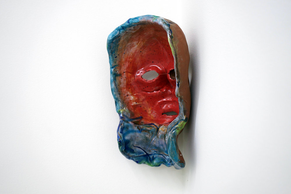 "CHRIS DUNCAN  (3/4 view)  Mask #1 , 2017, ceramic and glaze, 9 1/4"" x 6"" x 6"""