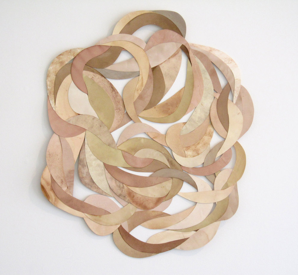 "MOLLY SMITH   Mass,  2013, paper and natural dyes, 32"" x 29"""