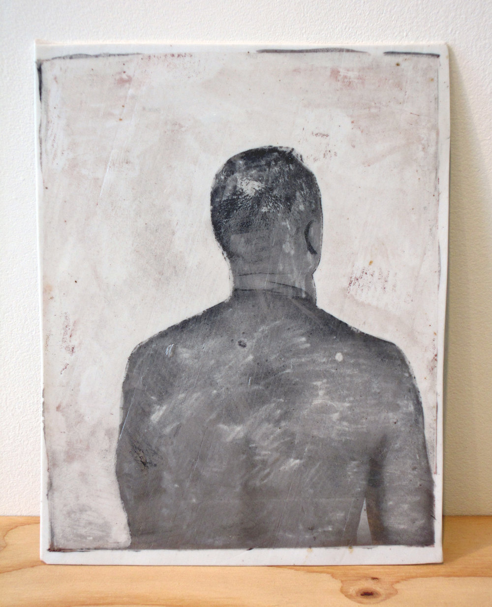 "ERIK SCOLLON   The Bald Spot, 2013, silver luster on porcelain, 9 3/4"" x 7 1/2"" x 1/16"""