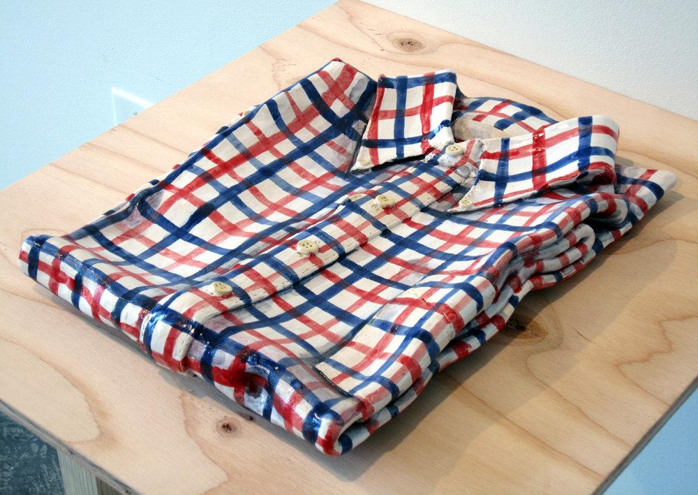 "ERIK SCOLLON   A Shirt (Worn, Washed & Pressed), 2013, majiolica on stoneware,14 1/4"" x 10 3/4"" x 2"""