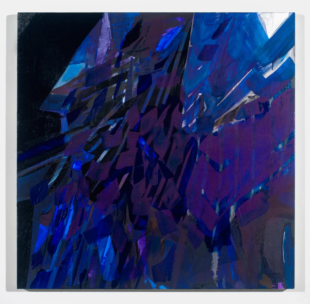 "PAMELA JORDEN   Fragments of blue dense,  oil on canvas, 33"" x 33"", 2011"