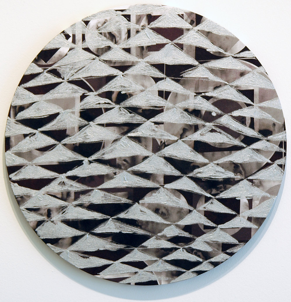 "PAMELA JORDEN   Smoke,  oil on fabric, 18.375"" diameter, 2011"