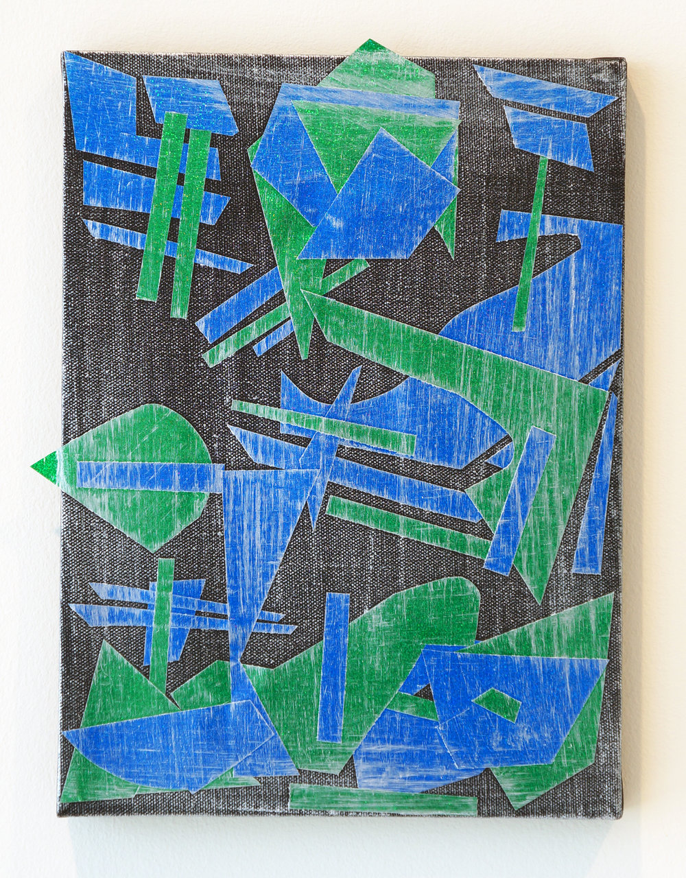 "PATRICK BRENNAN   Build Your City,  2012, mylar and acrylic on canvas, 12"" x 9"""