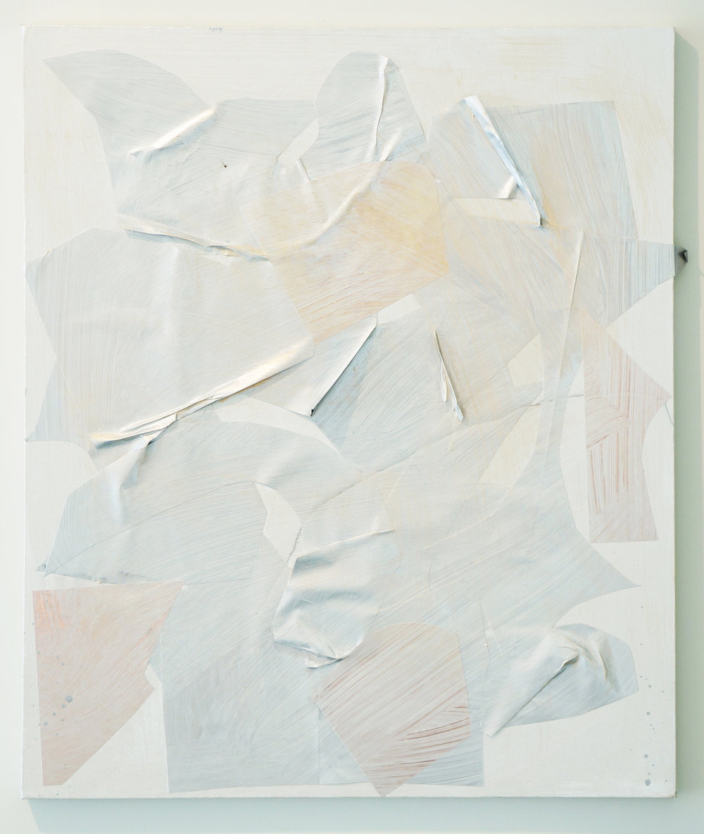 "PATRICK BRENNAN   Nest,  2012, mylar and acrylic on canvas, 24"" x 20"""