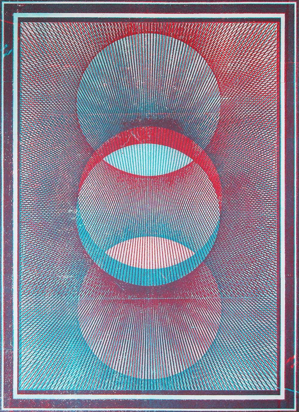 "GWENAËL RATTKE   Projections II (red & blue) , 2012, acrylic silkscreen on canvas with hand working, 49"" x 35.5"""