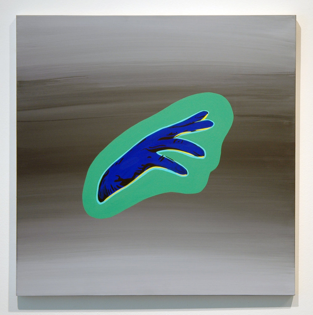 "DERIC CARNER   The Light That Failed (Dutch Hand) , acrylic on panel, 20"" x 20"", 2012"