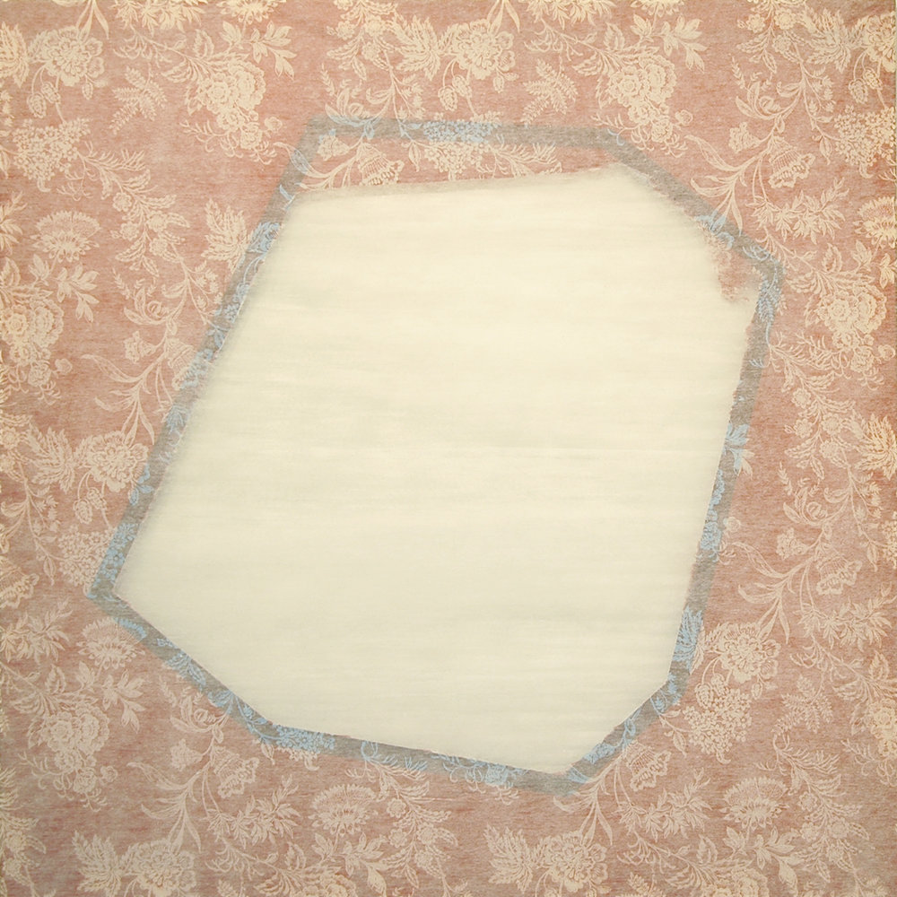 "DERIC CARNER   Melancolia , fleece-backed tablecloth, tape, stretcher bars, 44"" x 44"", 2012"