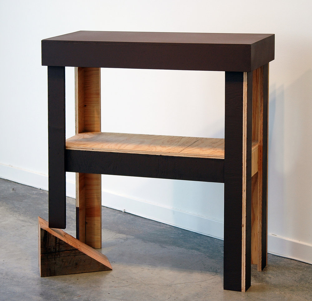 "JOSHUA PIEPER   Table and Shim , plywood, shim and paint, 40.5"" x 36.25"" x 14.5"", 2012"