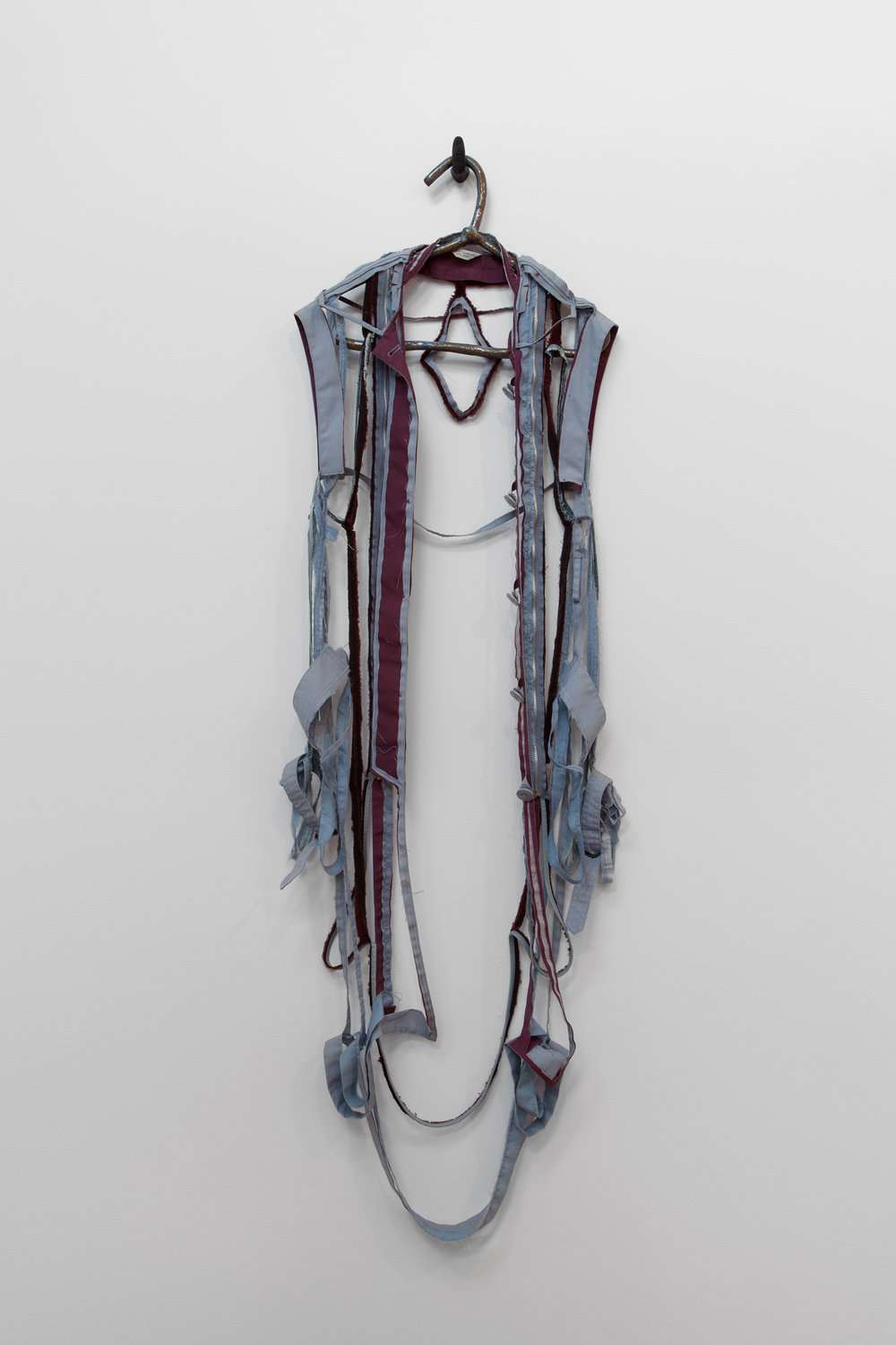 "ANNA SEW HOY   maroon/bleu lavande , fired stoneware, trench coat and resin finger hook, 58"" x 18"" x 4.5"", 2012"