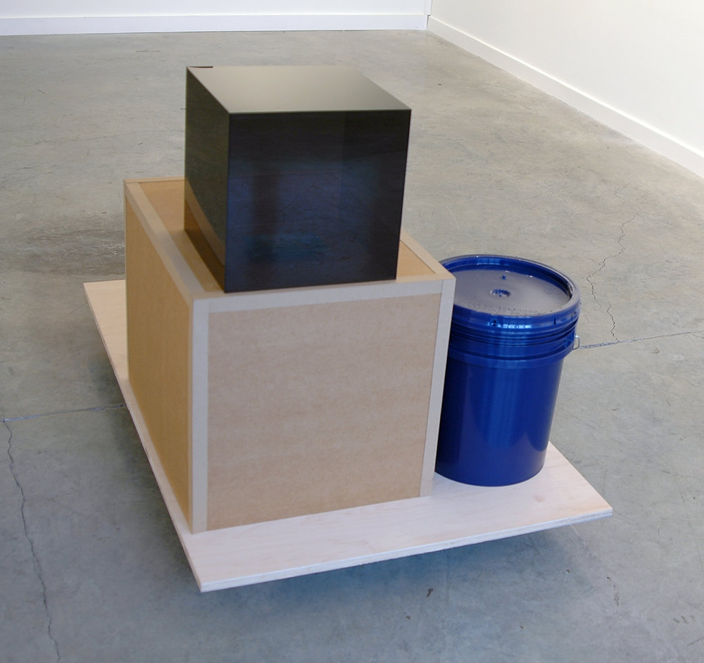 "PABLO GUARDIOLA   San Francisco, don't be afraid of the vastness of the world, of the immensity of the sea. Your thing is the air  wood, cardboard, blue bucket, plexiglass and postcard, 51"" L x 32"" W x 34.5"" H, 2011"