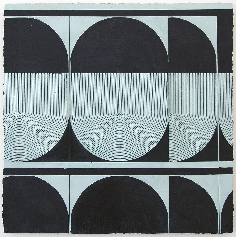 "ELISE FERGUSON   Bob O , pigmented plaster on MDF panel, 30"" x 30"", 2014"