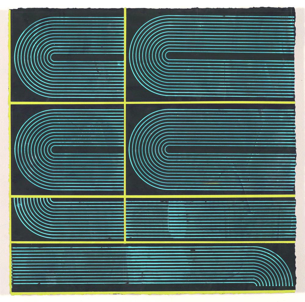 "ELISE FERGUSON  (detail) King Lounge , 2016, pigmented plaster on panel, 24"" x 74"""