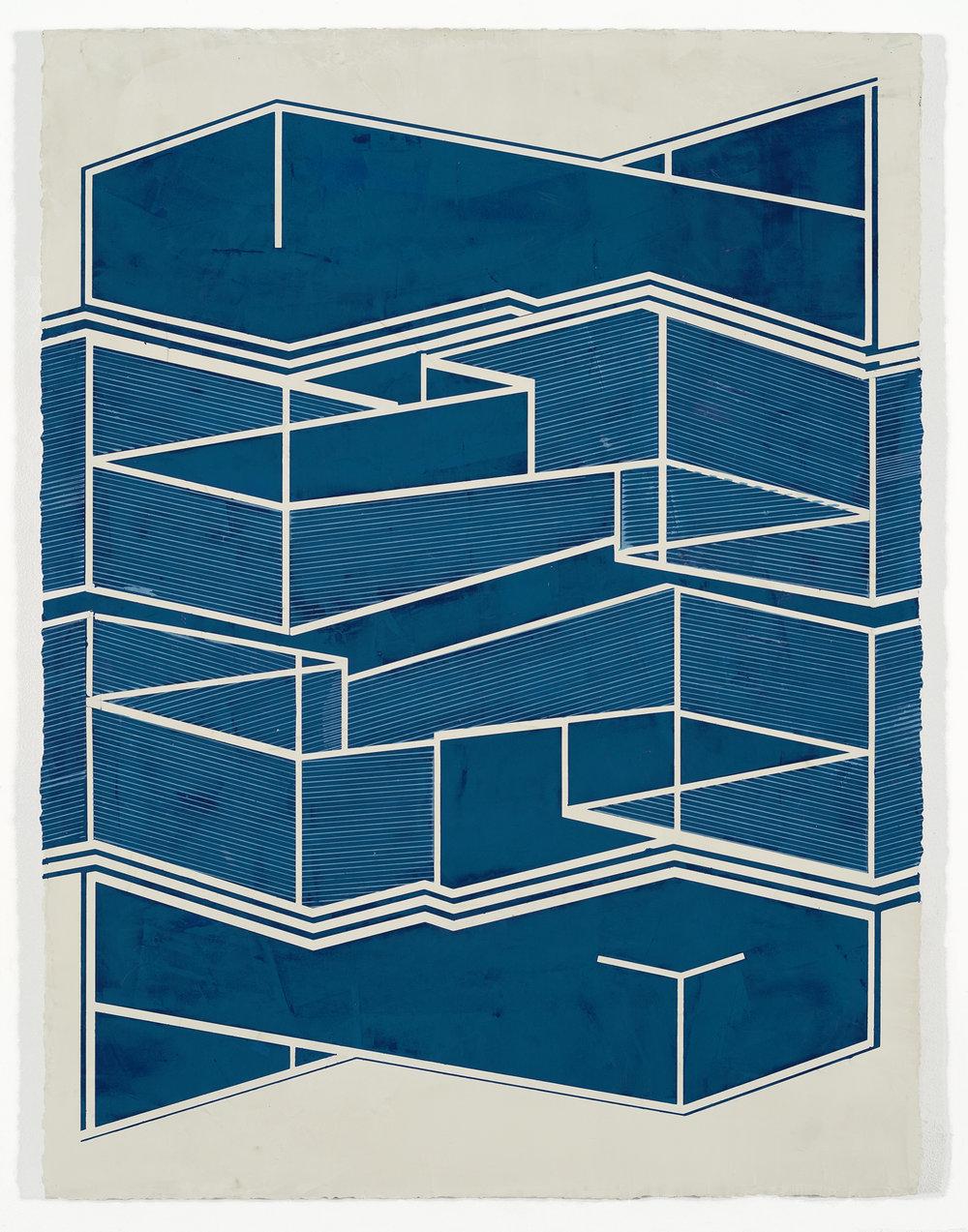 "ELISE FERGUSON   Repike , 2016, pigmented plaster on panel, 40"" x 30"""