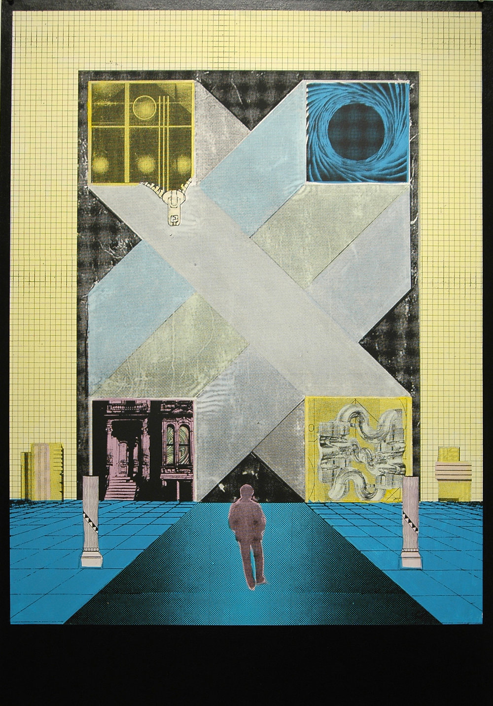 "GWENAËL RATTKE   Lonely Avenue , 2012, acrylic silkscreen on museum board with hand working, 41"" x 29"""