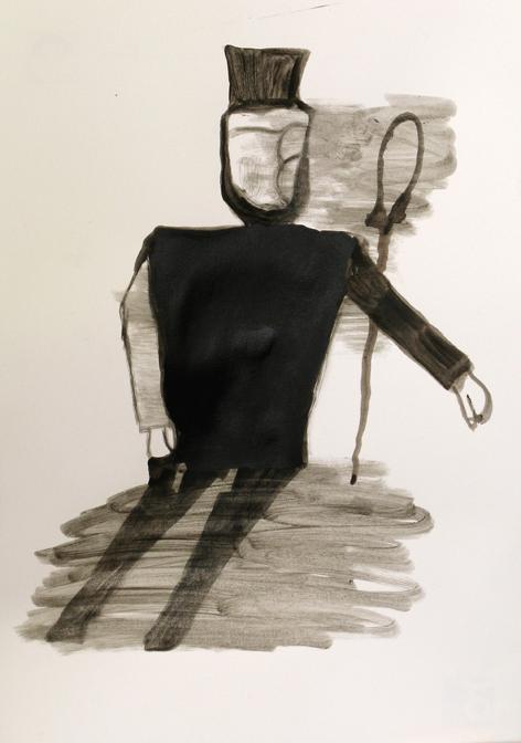 "CHRISTOPH ROßNER   Geselle  (Apprentice), india ink on paper, 11.75"" x 8.25"", 2012"