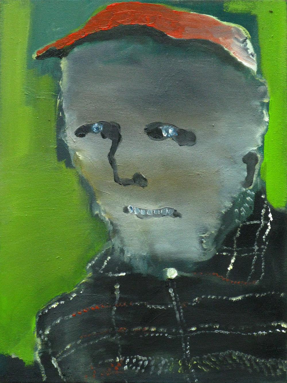 "CHRISTOPH ROßNER   Grinser, oil on canvas, 17.25"" x 13"", 2008"