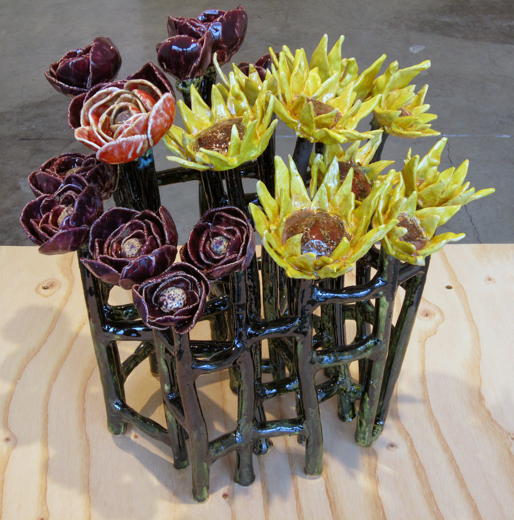 "ERIK SCOLLON   Bouquet,  2013, glaze on stoneware, 15"" x 15 1/2"" x 9 1/2"""