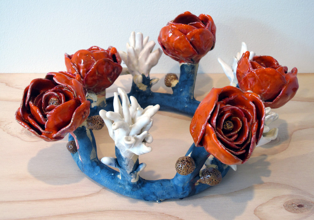 "ERIK SCOLLON   Ring of Flowers,  2013, glaze and underglaze on stoneware, 6"" x 11 1/2"" x 11"""