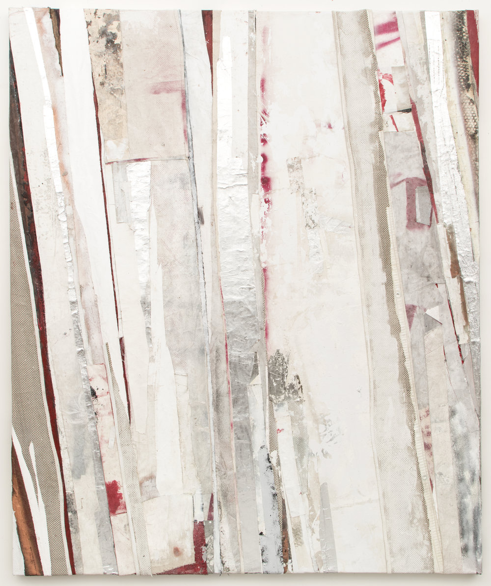 "RYAN WALLACE   Redactor 6 , 2015, enamel, acrylic, vinyl, rubber, concrete, plaster, aluminum tape, canvas on canvas, 72"" x 60"""