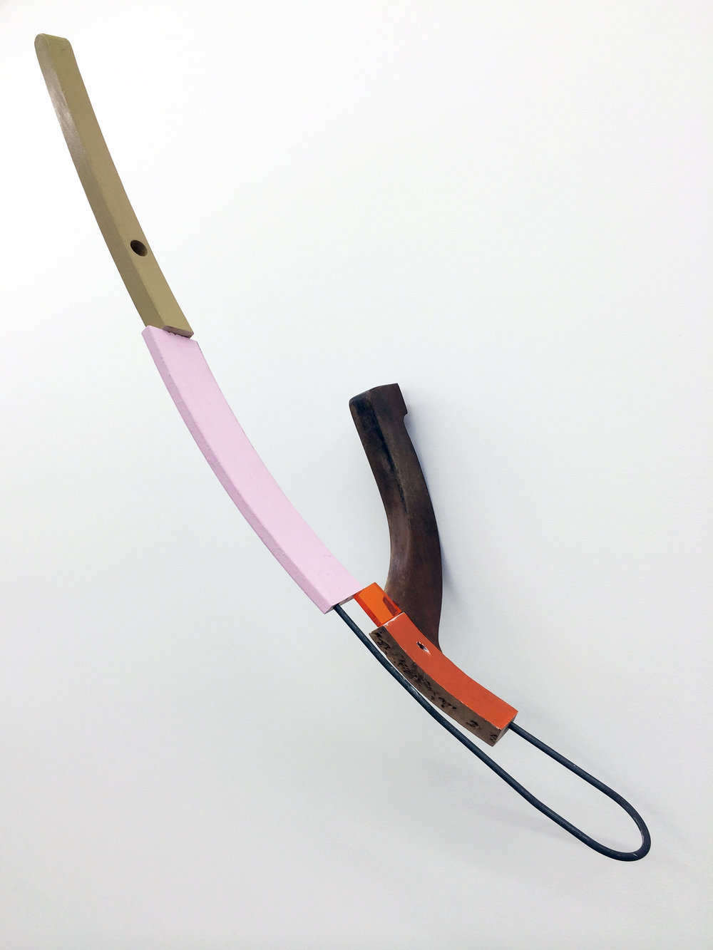 "KIRK STOLLER  (alternate view)  Untitled (wish) , wood, steel, plexi glass, acrylic and latex paint, wood stain, 39"" x 24"" x 15.75"""