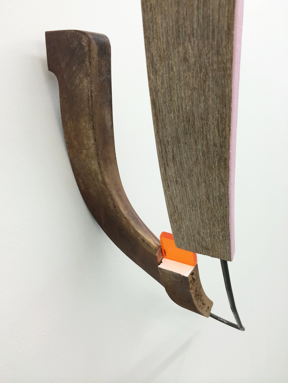 "KIRK STOLLER  (detail)  Untitled (wish) , wood, steel, plexi glass, acrylic and latex paint, wood stain, 39"" x 24"" x 15.75"""