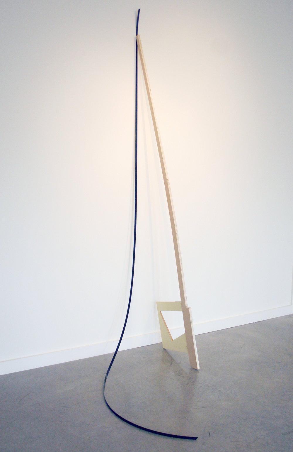 "KIRK STOLLER   Untitled (bow),  wood, paint and black strapping, 101"" x 35"" x 53.5"", 2011"