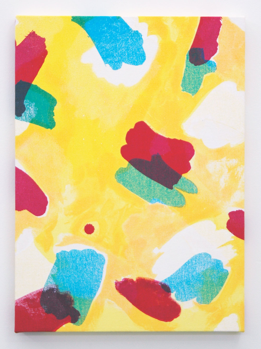 "/SLASH/  Amanda Curreri,  Calm Lunatics (Pattern for Performance) , fabric dye, acrylic, dye remover on cotton 18"" x 13"", 2014"