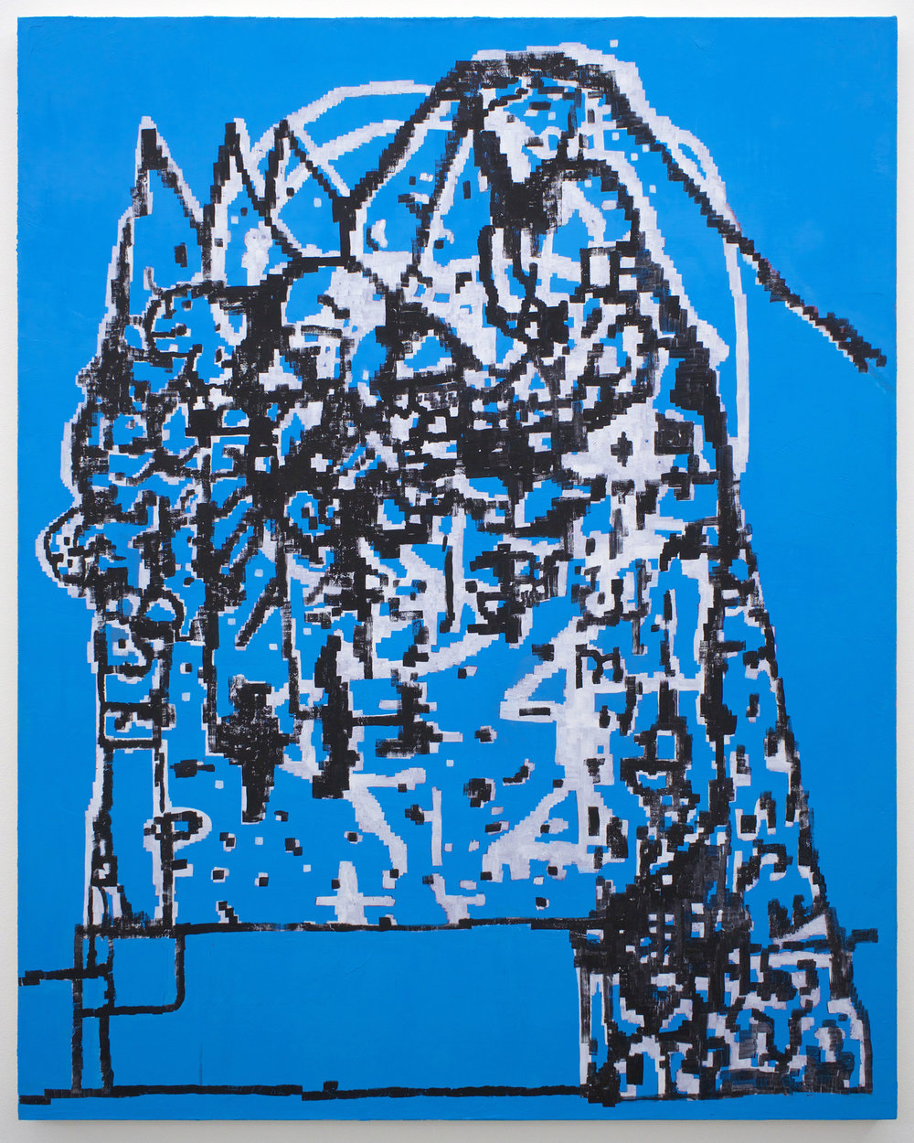 "EJ HAUSER   mountain dwellers (blue) , 2017, oil on canvas, 40"" x 32"""
