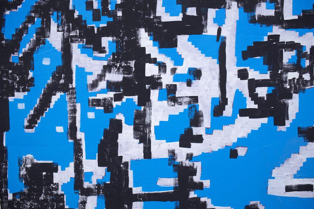 "EJ HAUSER  (detail) mountain dwellers (blue) , 2017, oil on canvas, 40"" x 32"""