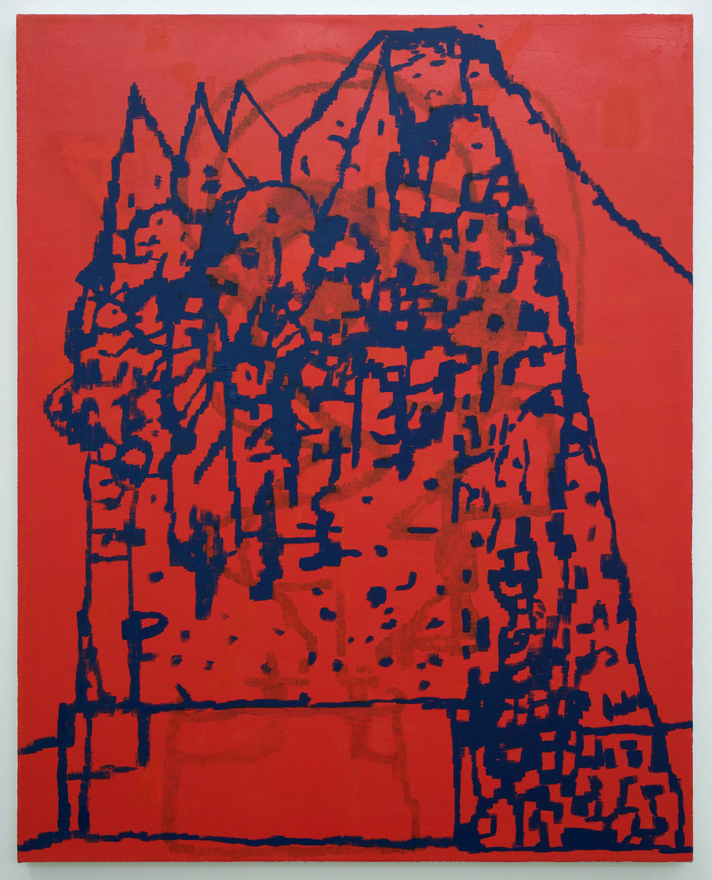 """EJ HAUSER   mountain dwellers (red) , 2017, oil on canvas, 40"""" x 32"""""""