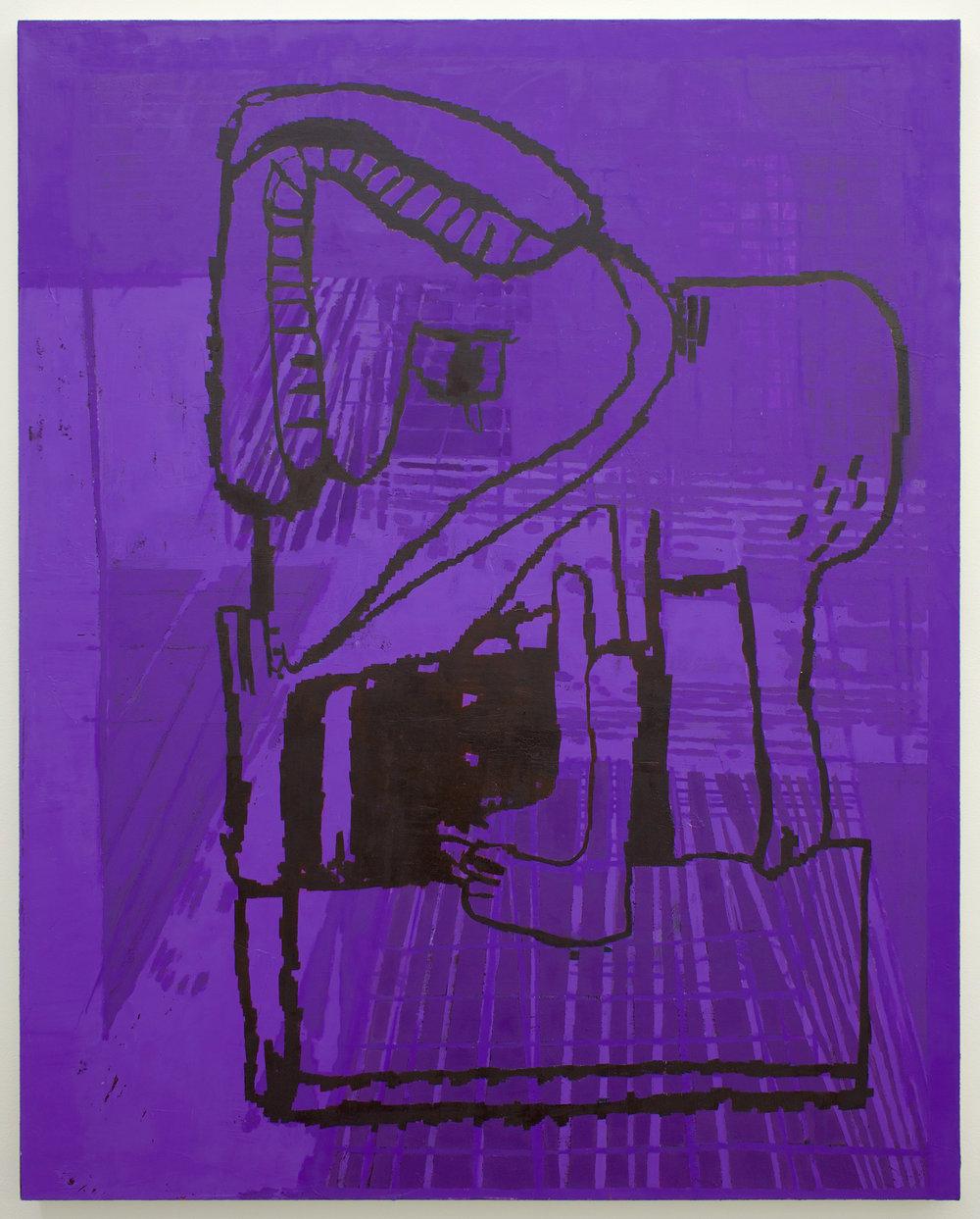"EJ HAUSER   purple beast , 2017, oil on canvas, 40"" x 32"""