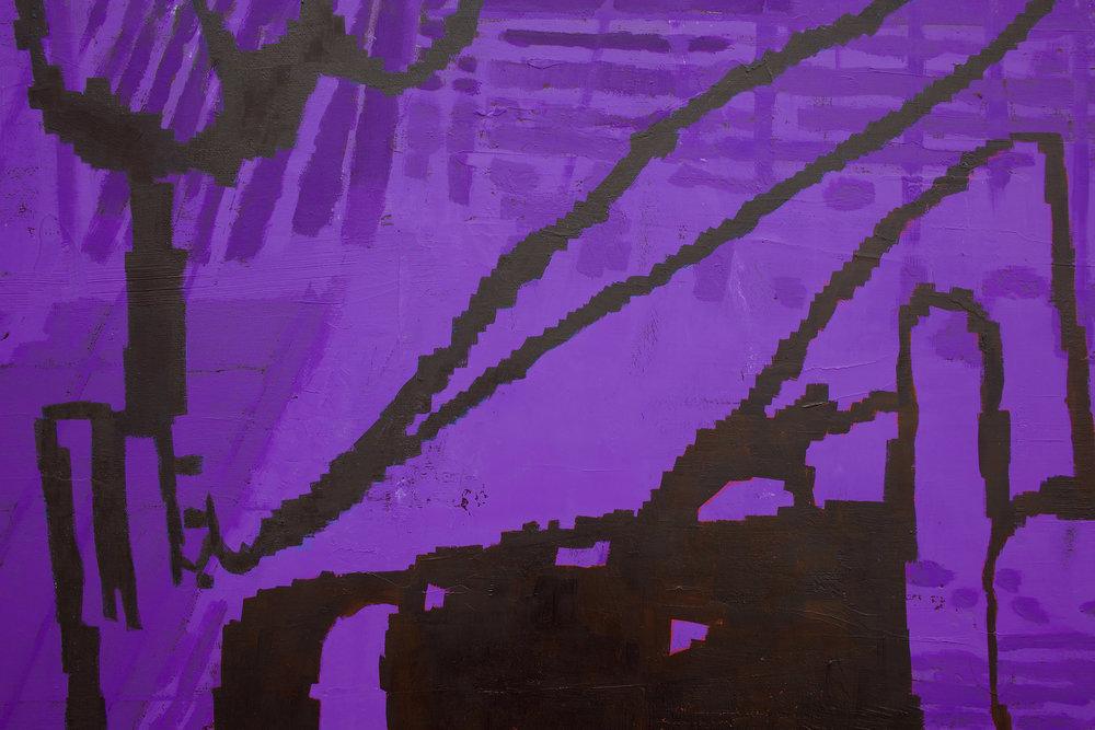 "EJ HAUSER  (detail) purple beast , 2017, oil on canvas, 40"" x 32"""