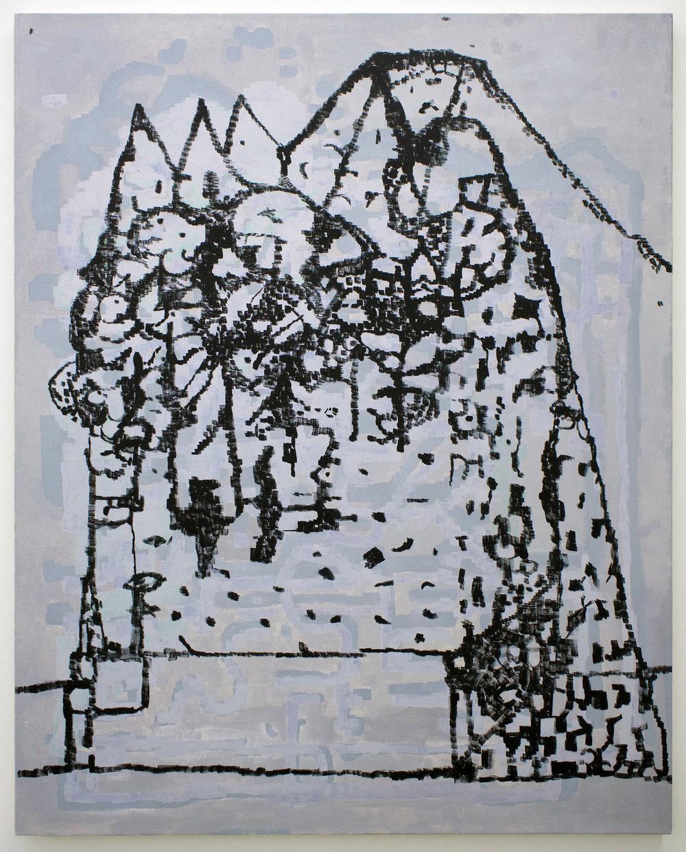 "EJ HAUSER   mountain dwellers , 2017, oil on canvas, 40"" x 32"""