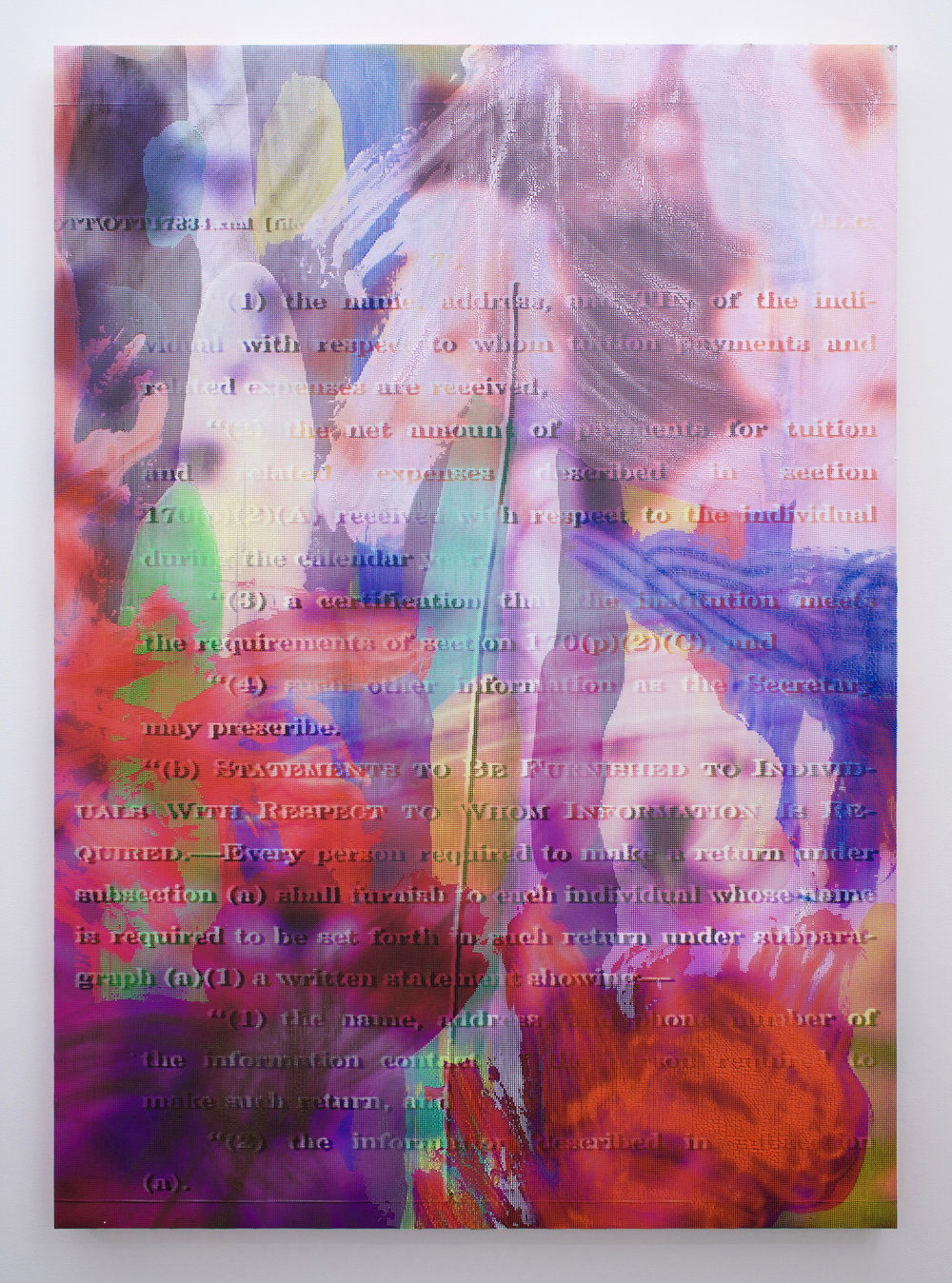"EVAN NESBIT  Manifold Painting (Merge Visible) , 2017, acrylic, UV curable ink on vinyl coated mesh fabric, 53"" x 37"""
