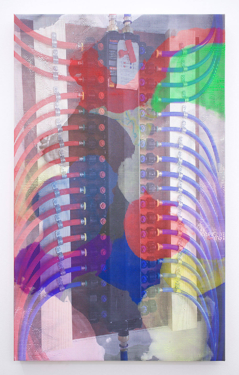 "EVAN NESBIT  Manifold Painting (Manifold #2) , 2017 acrylic, UV curable ink on vinyl coated mesh fabric, 30"" x 18"""