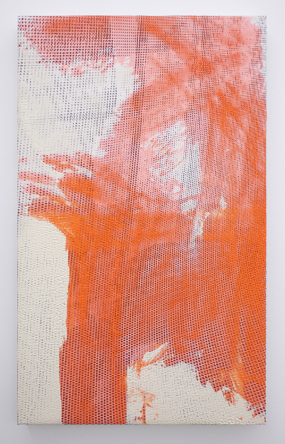"EVAN NESBIT  Manifold Painting (Superstratum #8) , 2017, acrylic, UV curable ink on vinyl coated mesh fabric, 30"" x 18"""