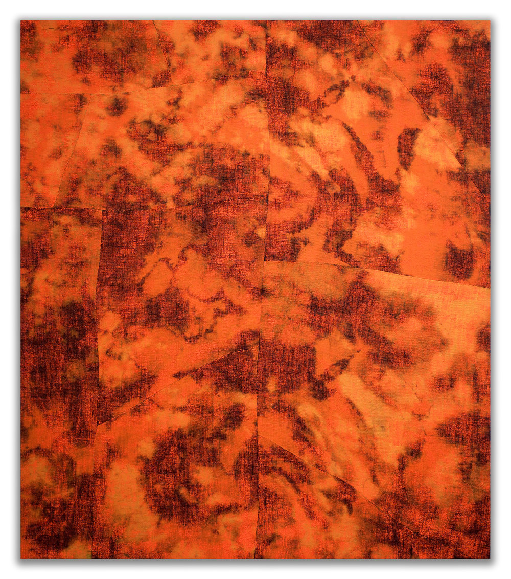 "EVAN NESBIT  Porosity (Heat Beat II) , 2015 acrylic, dye and burlap, 79"" x 68"""