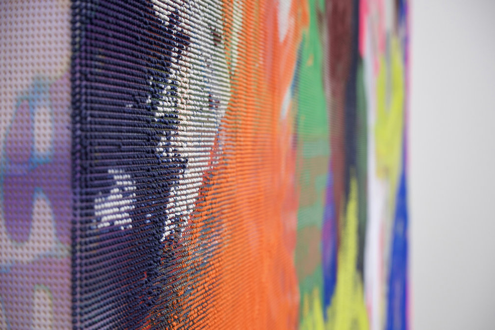 "EVAN NESBIT (detail)  Manifold Painting (Ever Dissonant Futures) , 2017, acrylic, UV curable ink on vinyl coated mesh fabric, 66"" x 60"""