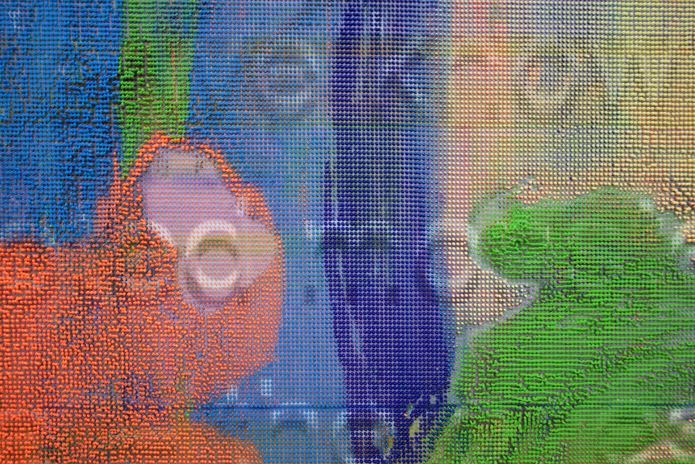 "EVAN NESBIT  (detail)  Manifold Painting (Fake Painting) , 2017, acrylic, UV curable ink on vinyl coated mesh fabric, 53"" x 37"""
