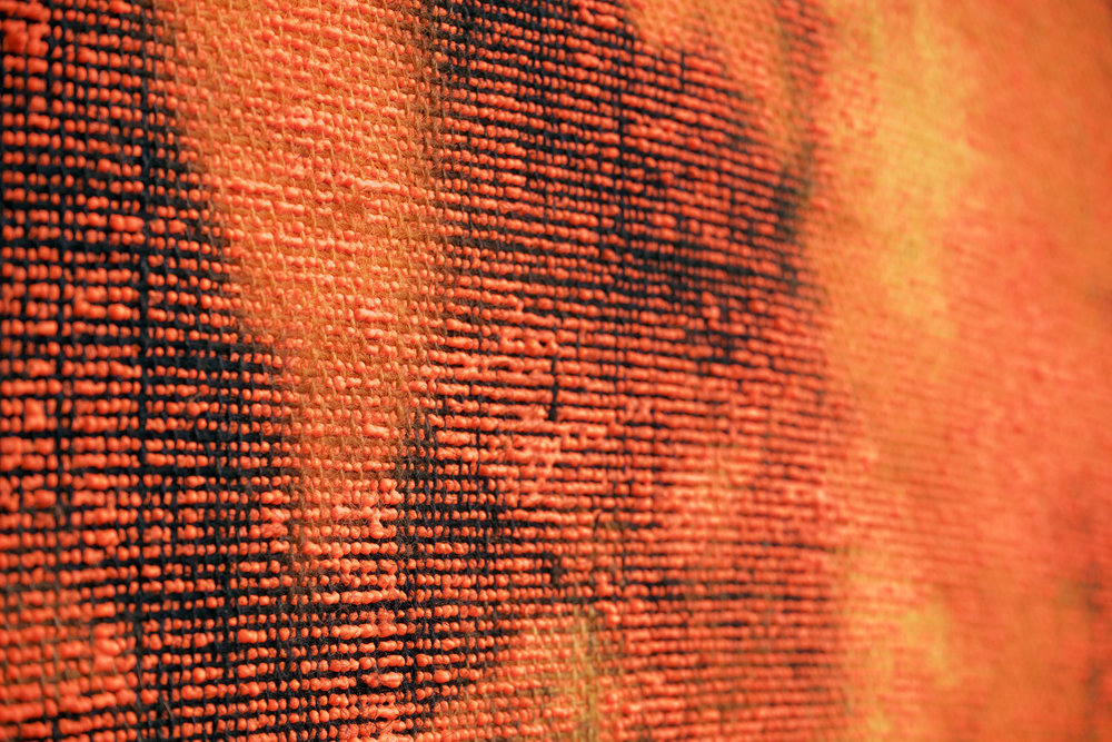 "EVAN NESBIT (detail)  Porosity (Heat Beat II) , 2015 acrylic, dye and burlap, 79"" x 68"""