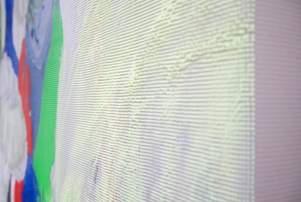 "EVAN NESBIT (detail)  Manifold Painting (Perishable Gestures) , 2017, acrylic, UV curable ink on vinyl coated mesh fabric, 53"" x 37"""
