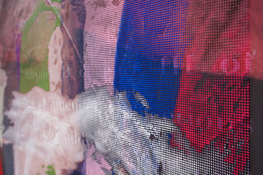 "EVAN NESBIT (detail)  Manifold Painting (Repeat Dexterity) , 2017, acrylic, UV curable ink on vinyl coated mesh fabric, 53"" x 37"""