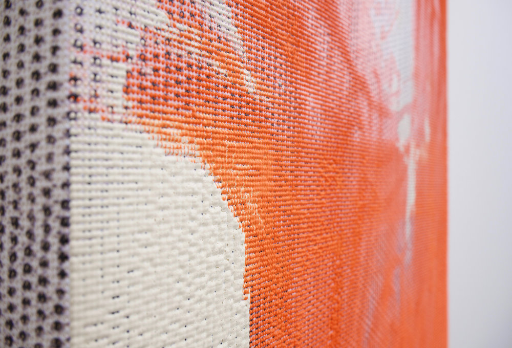 "EVAN NESBIT (detail)  Manifold Painting (Superstratum #8) , 2017, acrylic, UV curable ink on vinyl coated mesh fabric, 30"" x 18"""