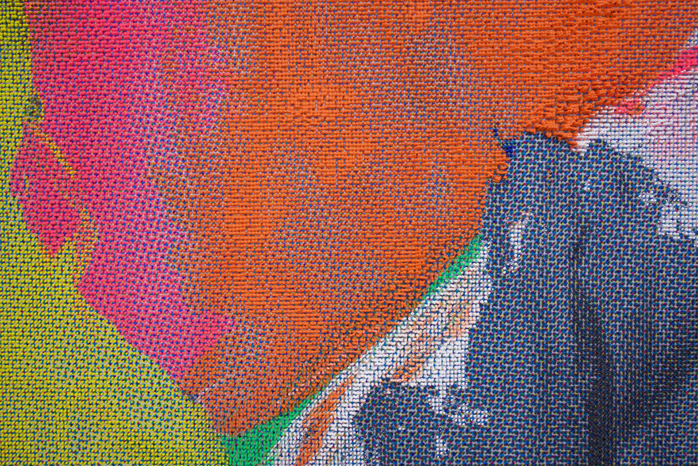 "EVAN NESBIT  (detail)  Manifold Painting (Tactile Interface) , 2017, acrylic, UV curable ink on vinyl coated mesh fabric, 53"" x 37"""